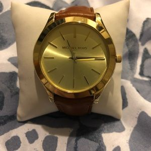 Michael Kors skin runway golden watch brown strap